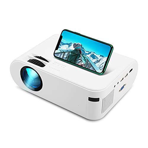 Mini projetor, Projetores de Vídeo LVOD 4000 Lumens, 1920 * 1080P LED Video Beamer compatível para espelhamento de telefone celular Android opcional (Plugue UE, Versão Básica)