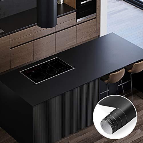 PROHOUS Tapeten 0,4mm Schwarz Möbelfolie 0.61 x 5M Klebefolie Möbel Selbstklebende Matt Dekofolie aus PVC Folie für Möbel Wasserfest Küchenfolie Anti Schimmel Schrankaufkleber für Küchenschrank