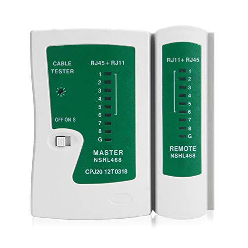 Tree-on-Life Tester per cavi LAN RJ45 RJ11 Cat5 Cat6 professionale Tester per cavi di rete portatile Tester per cavi di rete Rilevatore di linea telefonica Kit di strumenti Tracker Bianco verde