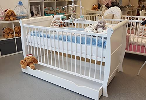 White Sleigh Style Baby Cot Bed Baby Bed Bed Cot with Underneath Storage Drawer for Newborn Cot