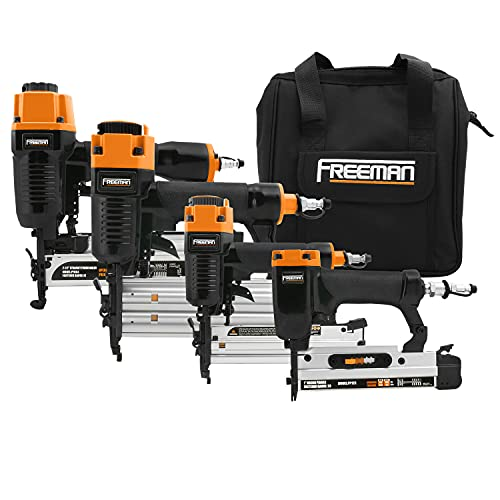 Freeman P4FNCB Pneumatic Finishing Stapler and Nailer 4-Piece Combo Kit with Canvas Bag and Fasteners, Black with orange