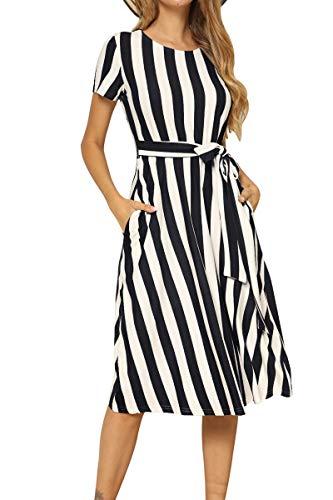 Womens Short Sleeve Loose Striped Pockets Flowy Casual Midi Work Dress Black M