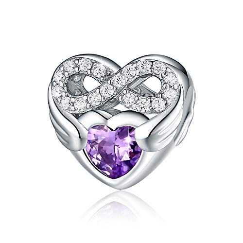 FOREVER QUEEN 925 Sterling Silver CZ Infinite Love Heart Charm with Purple Heart Wings Forever Love Infinity Bead Fit for Charm Bracelet Necklace