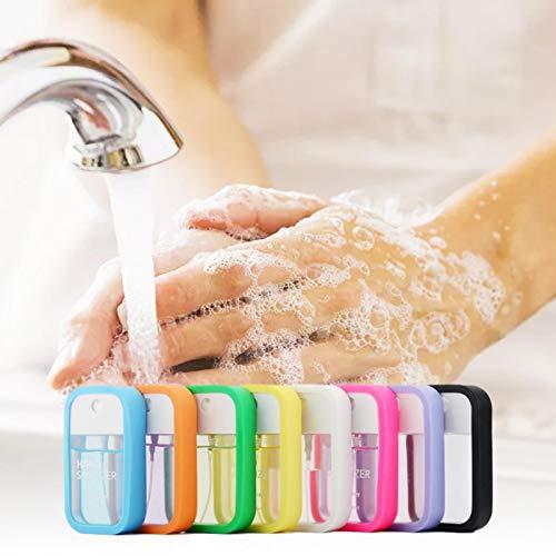 Augneveres Botellas de embotellado Vacío botella de cristal transparente envase recargable con funda de silicona, puede contener tarjeta de 45 ml (7 colores se envían al azar)