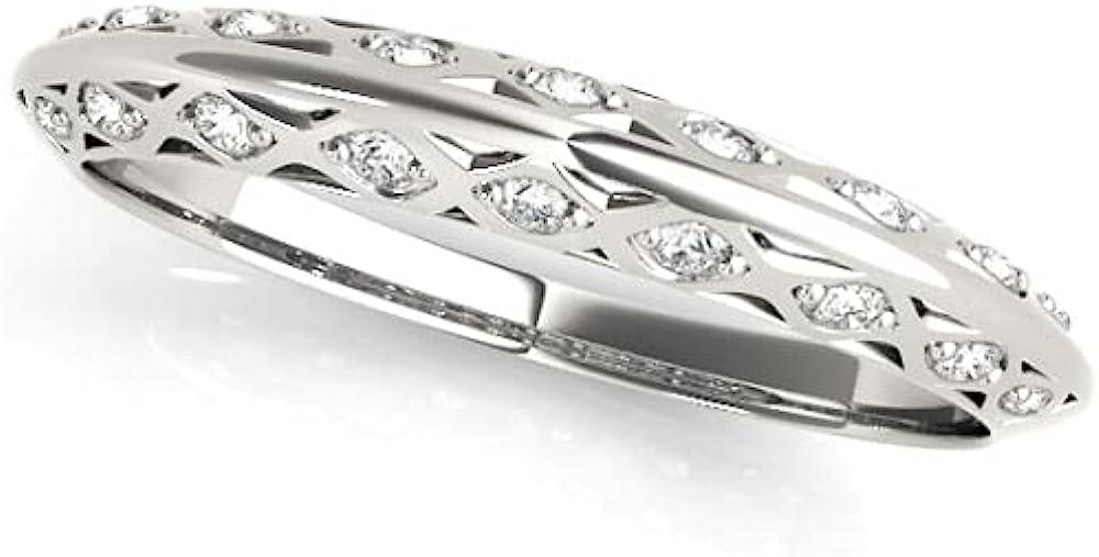 Same day shipping 0.10 Carat Regular dealer Total Weight Knife Ring Edge Micropavé Eternity Half