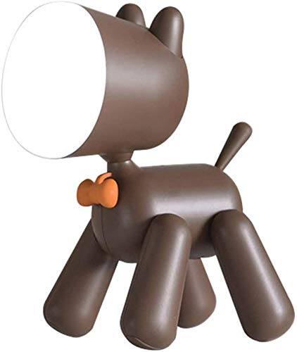 Hondenbureau lamp, hond leeslamp puppy nachtlampje draaibare poten verstelbare kop USB oplaadbaar schattige mini dier hond tafellamp wit