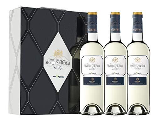 Marqués de Riscal - Vino blanco Denominación de Origen Rueda, Variedad 100% Verdejo, 100% Organic con certificación ecológica - Estuche 3 botellas x 750 ml - Total 2250 ml