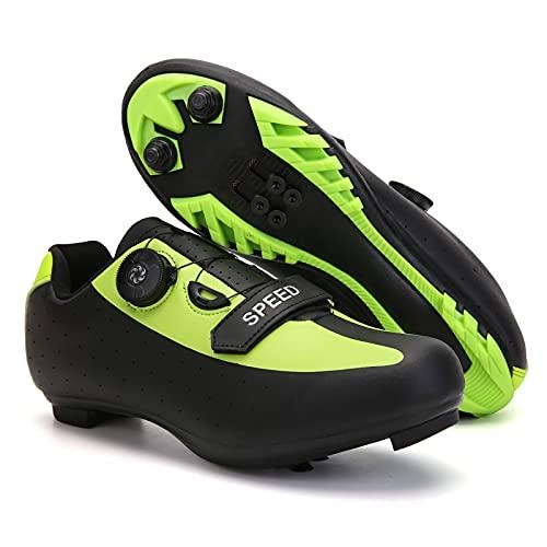KUXUAN Zapatillas de Ciclismo Hombre MTB Mountain Bike Zapatillas de Ciclismo Zapatillas de Ciclismo para Hombre,Green-40