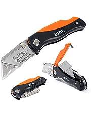 Amazon Brand - Umi Cutter Plegable, Cambio Rápido de 15 Hojas, Cuchillo Plegable de Bolsillo, Mecanismo de Bloqueo, con Almacenamiento de Hoja y Clip para Cinturón
