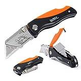 Umi. by Amazon- Cutter Plegable, Cambio Rápido de 15 Hojas, Cuchillo Plegable de Bolsillo, Mecanismo de Bloqueo, con Almacenamiento de Hoja y Clip para Cinturón