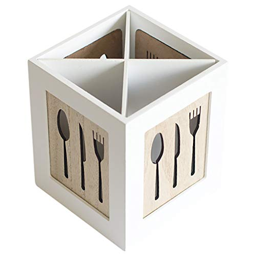 Fan-Ling Creative Tableware Storage Basket Hollow Box,Multifunctional Wooden Storage Box,Chopsticks, Spoons, Fork Storage Tools, Wearable &Durable (B)