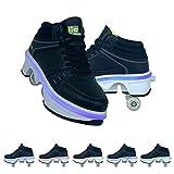 Zapatos De Deformación Parkour Cuatro Rondas De Zapatos para Correr, Patines, 7 Colores LED Zapatos De Patinaje sobre Ruedas Recargables con Zapatillas De Deporte De Doble Fila,37