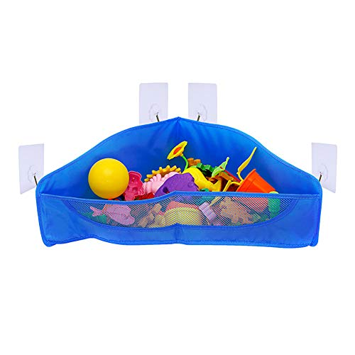 HYwot Bath Toy Organizer with 4 Sturdy Suction Pads. Corner Net Container To Store Toys Used by Children/Babies When Bathing,Navy blue