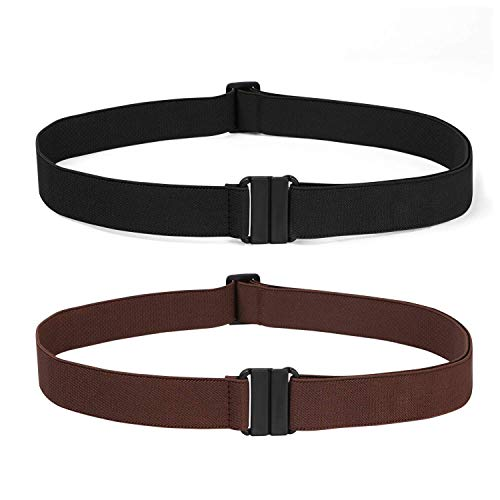 2 Pack Invisible Women Stretch Belt No Show Elastic Web Strap Belt with Flat Buckle for Jeans Pants Dresses(US Size 0-16,01-Black+Coffee)