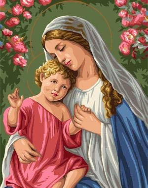 Pintura sin marco por números Pintura digital 40X50cm Nueva pintura al óleo Imagen de la Virgen María Jesús Pintura al óleo Arte de la pared