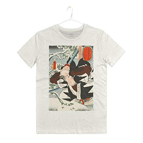 INSIDETSHIRT Maglietta Arti Marziali Bushi Samurai T-Shirt Man La Via del Guerriero Japanese Old Art (Warm White, M)
