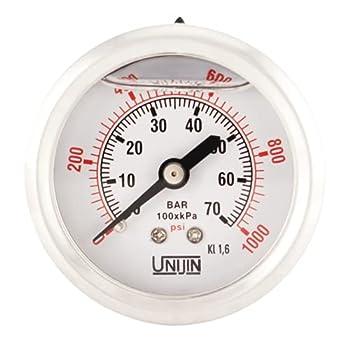 Unijin P251 Series 2  Dial Oil Filled Pressure Gauge w/Brass Internals 0-1000 PSI/kPa ±1.6% Accuracy 1/4  NPT Back Mount