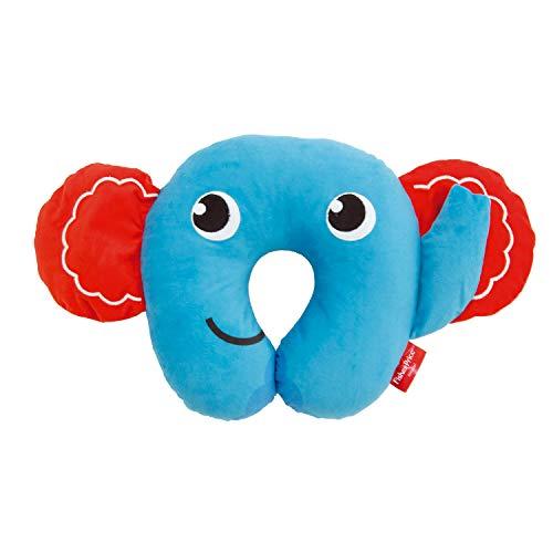 ARDITEX Fisher-Price Coussin De Nuque Éléphant En Polyester 27X27X6Cm Almohada Viaje, 27 cm, Azul (Bleu)