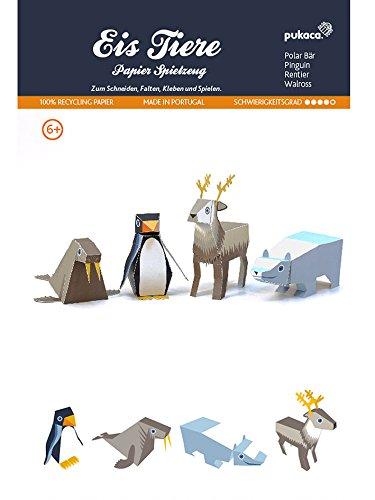 POWERHAUS24 Eisbär, Pinguin, Rentier & Walross, Bastelvorlage Eis Tiere, Papier Spielzeug zum Basteln & Spielen