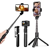 Lightweight and Portable Aluminum Alloy Ezavan Selfie Stick with Tripod Stand and Wireless Remote Shutter, Compatible with iPhone 12/11/XR/X/8/7/Pro/Max/Plus/ , Android Samsung Smartphone and GoPro