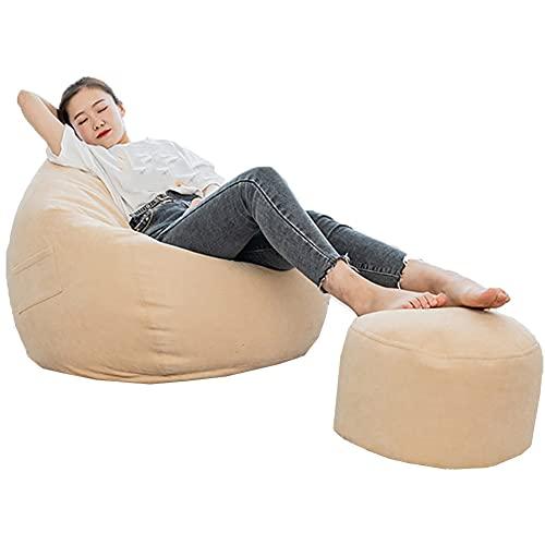Greenf - Puf de pera para adultos y niños con pedales, puf gigante sin relleno, funda de puf de salón de tela, sillón puf salón puf exterior interior (90 x 110 cm), color beige