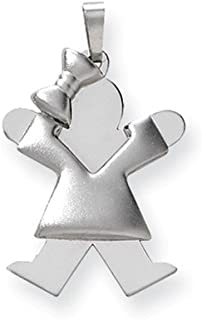 14ct White Gold Solid Double layered Polished and satin Engravable (back only) Puffed Girl Bow on Left Engraveable Charm