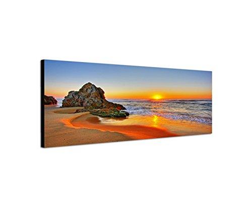 Quadro da parete su tela come Panorama in 150x 50cm spiaggia mare Alba Roccia