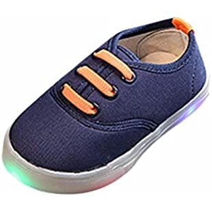 Kids Canvas Sneakers, Familizo Lovely Children Kids Soild Boys Girls LED Light up Luminous Canvas Sneakers Fashion Casual Comfortable Shoes for 1-6 Years Old:Mytools
