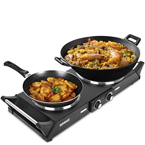 Duronic Hot Plate HP2BK | Table-Top Cooking | 2500W | Black Steel Electric Single Hob with Handles | 2 Cast Iron Portable Hob Rings (1500W & 1000W) | for Warming, Cooking, Boiling, Frying, Simmering