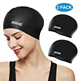 aegend Swim Caps for Long Hair (2 Pack), Durable Silicone Swimming Caps with Spacious Space for Women Men Adults, Easy to Put On and Off, Black