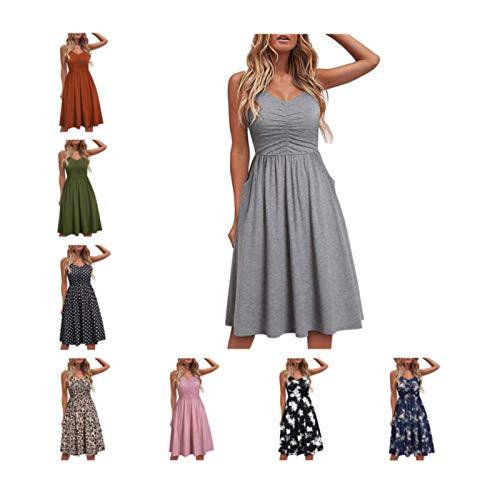 Cute Dress for Womens Comfy V Neck Sling Dresses Seaside Beach Dress Folds Fashion Print Tank Dress