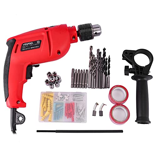 Awssya Hammer Drill with Tool Kit, Heavy Duty 650W Electric Professional Corded Impact Hammer Drill with Drill Bit Set/Rotating Side Handle/Depth Stop/Chuck Key, for Wood, Concrete, Steel