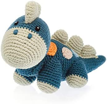 Pebble Handmade Dinosaur Blue Organic Cotton Crochet Fair Trade Pretend Imaginative Play Stegosaurus product image