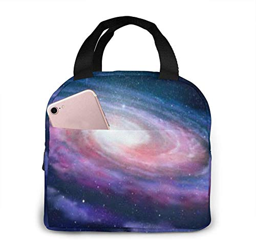 Spiral Galaxy Andromeda Portable Insulated Lunch Bag with Zip and Front Pocket, Waterproof Box for Women Men Boys Girls Office School Hiking Beach Picnic Fishing