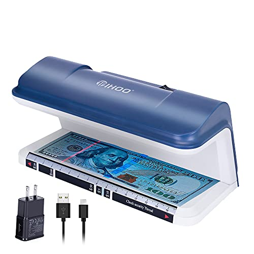 TIHOO Counterfeit Bill Detector with LED UV Light, Money Marker Counterfeits Money Detector, Fake Money Detector Machine for Bill, Blue