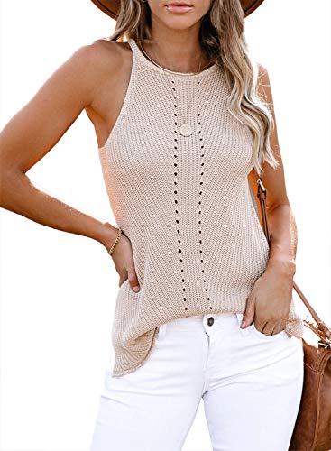 FIYOTE Bluse Sexy Damen Sommerweste Oberteile Top Ärmellose T-Shirts Lässiges Blusentop Hemd Tunika Top 2-Hellrosa S