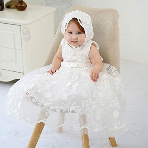 Ahaha - Vestido largo de bautizo para niña, para ocasiones especiales, bautizos, con sombrero y cinta para la frente Blanco 4 12-16 meses