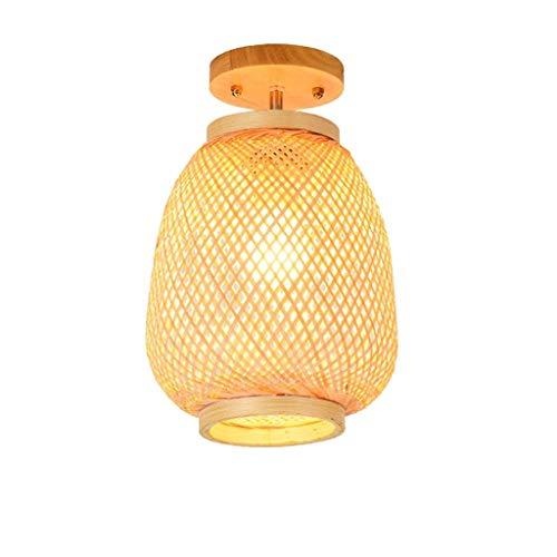 YWSZJ Bamboo chandelier restaurant lamp rattan lamp garden tea room tea house study lamp north room chandelier (Size : 35 * 22CM)