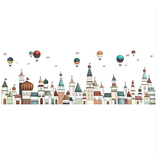 Jcnfa Castillo De Arquitectura De Estilo Europeo / Globo De Aire Caliente Pegatinas De Pared, Dibujos Animados Diseño De La Habitación De Los Niños, Decoración De La(Size:17.32*62.20in,Color:edificio)