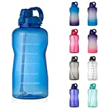 Large 1 Gallon Water Bottle with Time Marker Motivational & Straw, Leakproof Tritan BPA Free for Fitness, Gym, Outdoor Sports and Work (Blue)