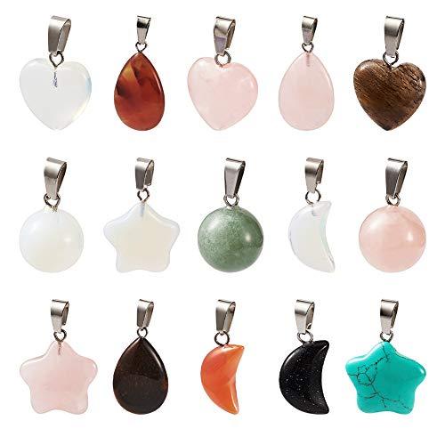 PandaHall 30 colgantes de piedras preciosas de formas mixtas en forma de corazón, luna y estrella, gota y piedras redondas para collares y bisutería.