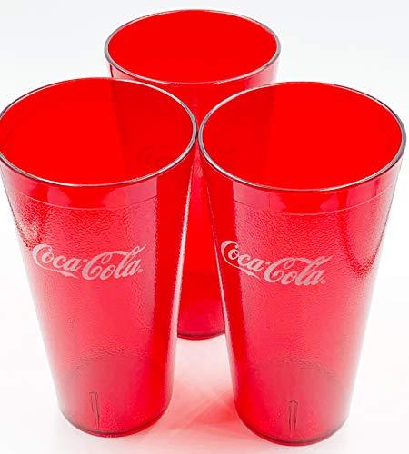 New (3) Coke Coca Cola Restaurant Red Plastic Tumblers Cups 20 oz Carlisle