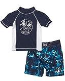 Body Glove Toddler Boys' Rash Guard Set - UPF 50+ Short Sleeve Swim Shirt and Bathing Suit Swimsuit Set, (Size 2T, Navy Good Vibes)