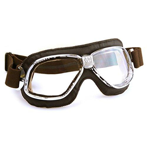 Halcyon Nannini Cruiser moto occhiali con vera pelle marrone Face Pad e montatura in metallo–Made in Italy