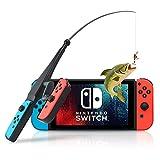 Angelrute für Nintendo Switch, mit 2 Stück Schutzfolie, MIKKUPPA Angelspielzubehör für alle Nintendo Switch Legendary Fishing