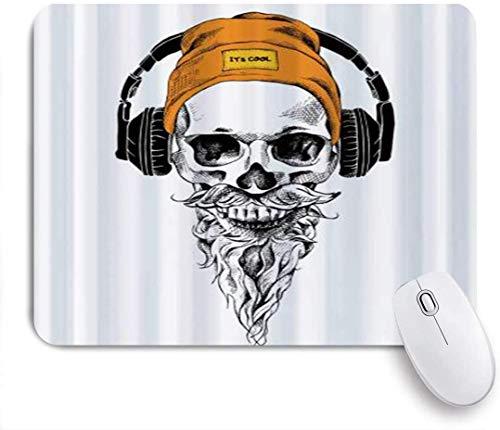 Mausmatte Mauspad Bart Schnurrbart Hipster Hut Telefone Vektor angepasste Kunst Mauspad rutschfeste Gummibasis für Computer Laptop Schreibtisch Schreibtischzubehör