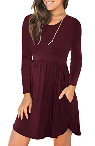Unbranded Women's Long Sleeve Loose Plain Dresses Casual Short Dress with Pockets Wine Red XX-Large (Apparel)