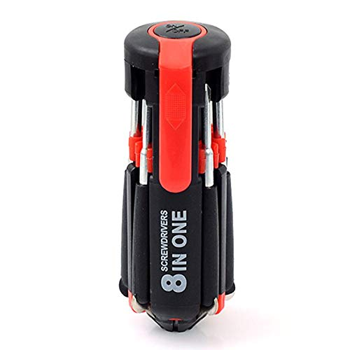 Eletam Destornillador múltiple portátil 8 en 1 con 6 Luces LED de reparación de Destornillador de antorcha Juego de Linterna integrada Multifuncional