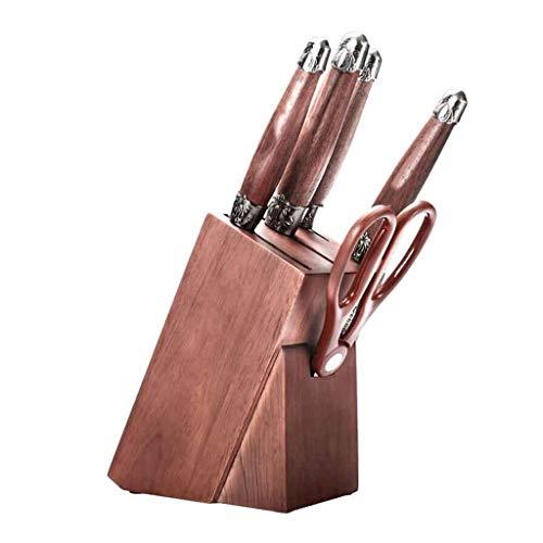 HAI Ensemble De Couteaux 6 Pièces Ensemble De Blocs De Couteaux De Cuisine Allemand 1.4116 Lame en Acier Inoxydable avec Poignée en Bois De Noyer Et C