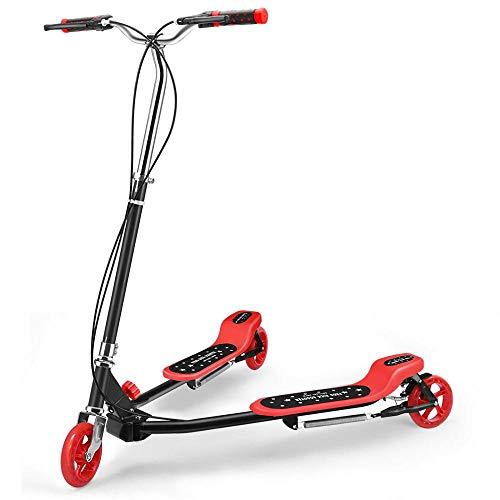 CYGJ Acero Carbono Patinete Scooter Premium con 3,Rojo Plegable Tablas Scooter para Niñas y Niños